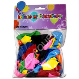 BALLONS 100 COULEURS ASSORTIES EN SACHET
