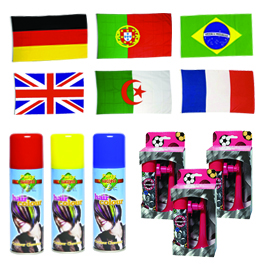 Pack 6 supporters équipe de foot : 6 drapeaux + 3 cornes de brume + 3 laques colorées pour les cheveux