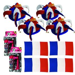 Pack 4 supporters équipe de france de football : 4 drapeaux + 4 chapeaux + 2 cornes de brume