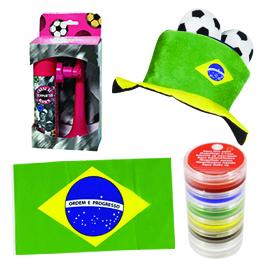 Pack supporter équipe de foot : un chapeau + un drapeau + une corne de brume + maquillage