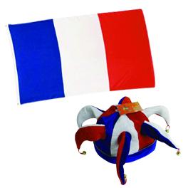Pack supporter équipe de foot : un drapeau + un chapeau