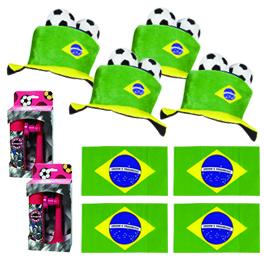 Pack 4 supporters équipe du Brésil de football : 4 drapeaux + 4 chapeaux ou bandanas + 4 cornes de brume