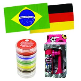 Pack 2 supporters équipe de foot : 2 drapeaux + maquillage + corne de brume